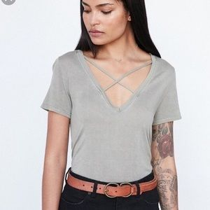 UO Project Social T Strapy Olive Green Tee